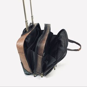 All leather rolling carryon bag, samsonite